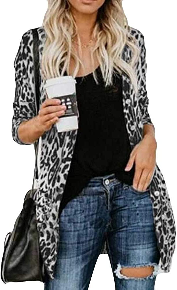 Women's Leopard Mail order cheap Printed Cardigans Lightweight Casual Latest item Down Button