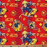 Loopomio Jersey Stoffe Feuerwehrmann Sam rot 0,50m x VB