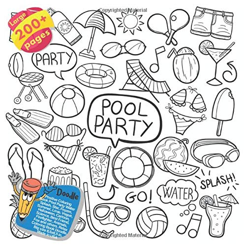 Positive Coloring Book Pool Party Water Splash, Star, Frozen, Summer, Love, Vogue, Halloween, Cartoon, Science, Best Friend, Firefighter, Animals, Fox ... Party Water Splash and others Doodle, Band 1)
