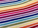 LushFabric Multi Streifen Weiß Rainbow Jersey Knit