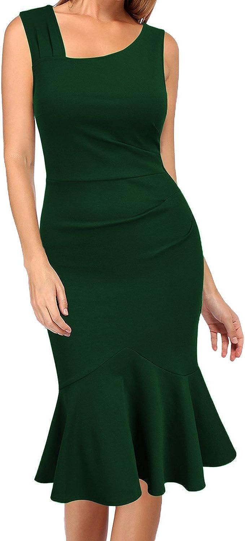 WOOSEA Womens Elegant Vintage Sleeveless Slim Mermaid Midi Mid-Calf Dress
