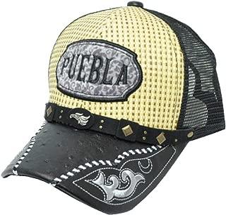Rob'sTees Gorra Charra Puebla Metal Emblem Woven Mexico Flag Palma Mesh Straw Trucker Cap Dad Hat