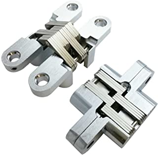 Smbbit Invisible Concealed Cross Hinges Wooden Doors,Zinc Alloy,2.36 in (59.8MM) Leaf Height, 0.5 in (12.8MM) Leaf Width, 0.7 in (17.6MM) Blade Thickness,Satin Nickel Finish (1 Pair)