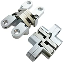 Smbbit Invisible Concealed Cross Hinges Wooden Doors,Zinc Alloy,1.79 in (59.8MM) Leaf Height, 0.38 in (12.8) Leaf Width, 0.52 in (17.6MM) Blade Thickness,Satin Nickel Finish (1 Pair)