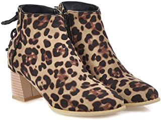 Women's Pointed Toe Leopard Ankle Boots Winter Lace-up Chunky Heel Booties Casual Martin Short Boot