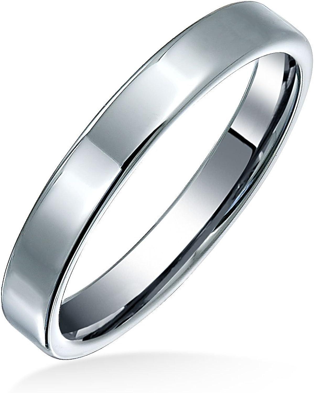 Bling Jewelry Plain Simple Thin Wedd Cigar gift Flat Max 72% OFF Couples Titanium