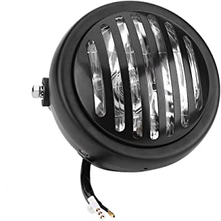 Keenso 6.3 Inch Vintage Motorcycle Headlight Headlamp Grill Style Amber Cafe Racer Bobber Chopper Universal for Cafe Racer(Black Shell White Glass)