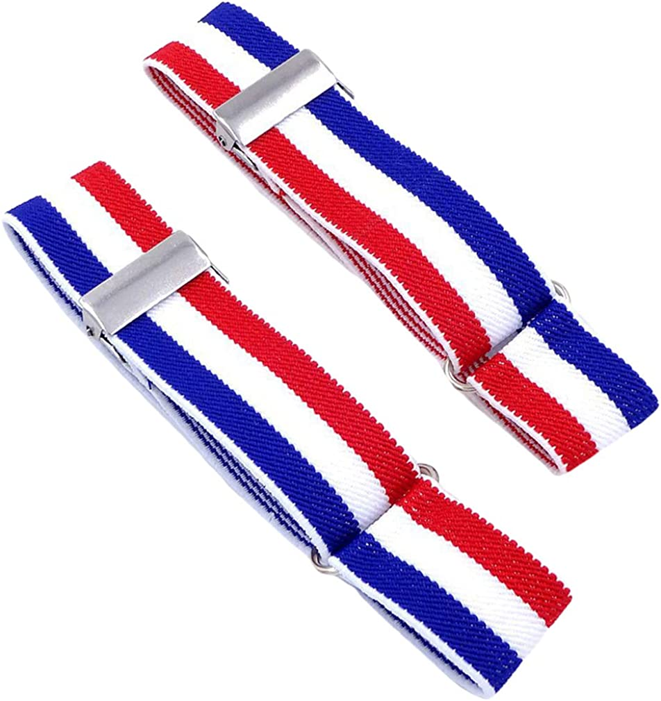 SupSuspen Men's 2 PCS Striped Shirt Garters Sleeve Holders Armbands 1 Inch Width