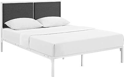 Modway Della Fabric Bed, King, White Gray