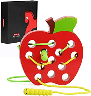 WOOD CITY Wooden Apple Lacing Toy with Worm, Lacing Game, Fine Motor Skill Toy, Wooden Puzzle Travel Toys, Apple Threading Game Early Learning Toys for Toddlers Age 2 3