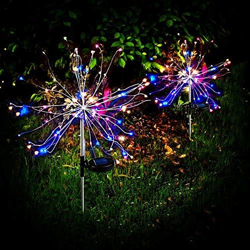 Solarleuchte Garten, 2 Stück 90 LED Mehrfarben Feuerwerk Licht Wetterfest Solarlampen Außen Gartendekoration Funkeln und Dauerlicht 2 modi für Garten Balkon Rasen Feld Terrasse Weg