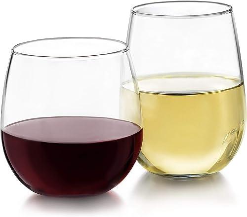 Libbey Juego de copas de vino sin tallo, para vino tinto y blanco, 12 piezas