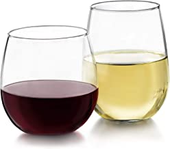 Libbey 31229 Stemless Wine Glasses for Red and White Wines, Set of 12
