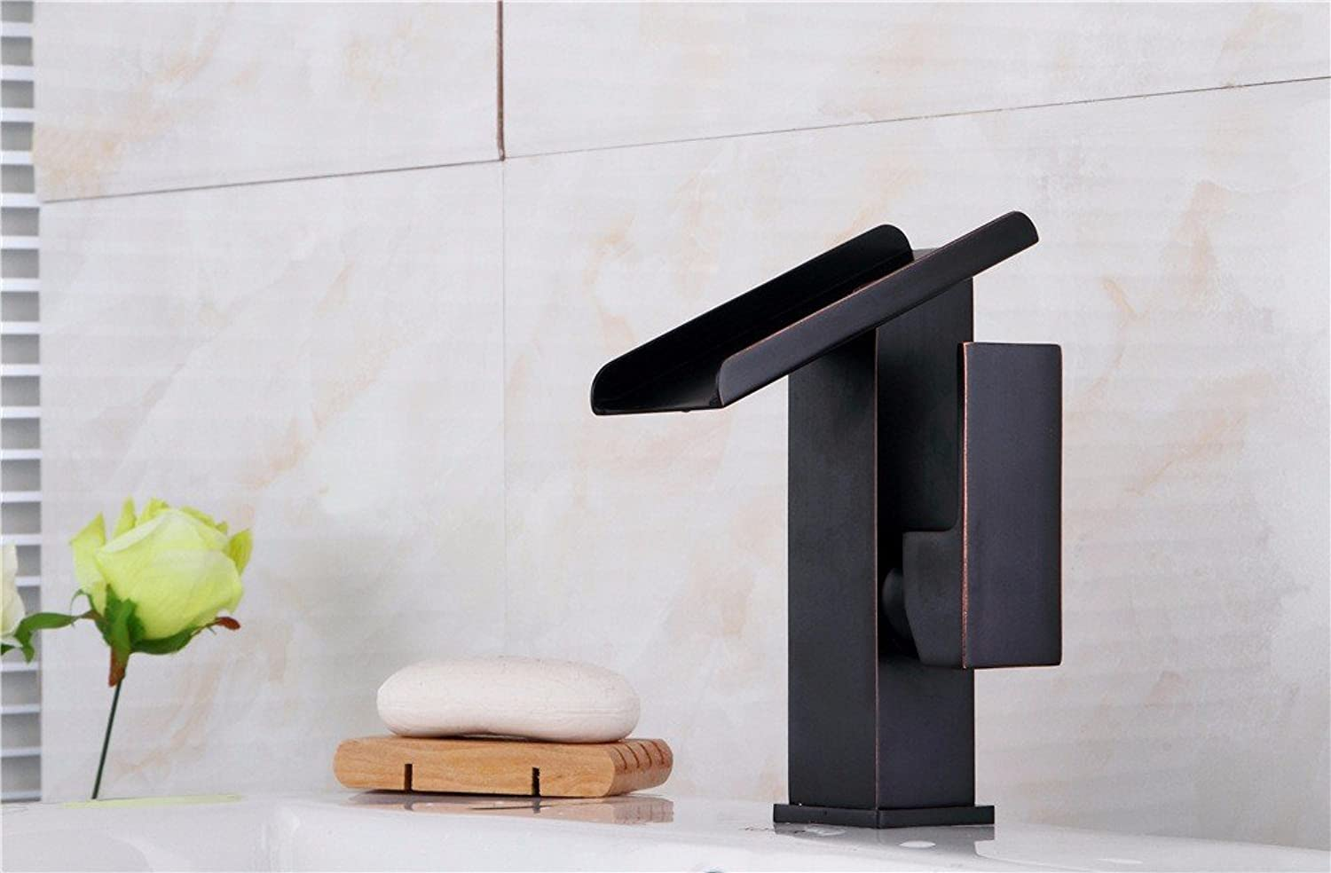 TS-nslixuan-Tap-Sink Tap Bathroom Wash Basin Full Copper Cold And Hot Single Hole Waterfall Faucet