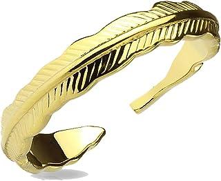 Anello per piede in ottone dorato, regolabile, a forma di foglia