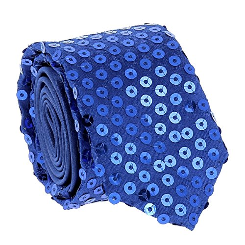 Cravate Paillette Bleu roi - Cravate Strass Soirée - Cravate brillante