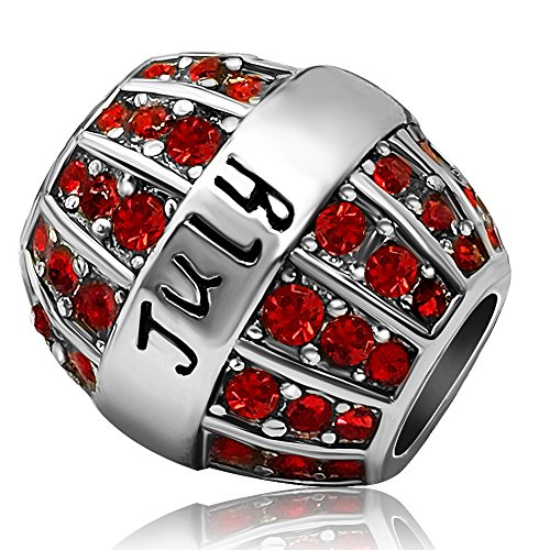 JMQJewelry Birthday Charms Bead For Bracelets (Red, July Birthstone)