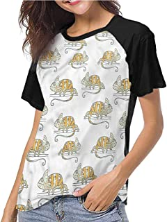 Tight Tops Tee,Reptile,Squama Design Vintage Art,Girls Short Sleeves Tight