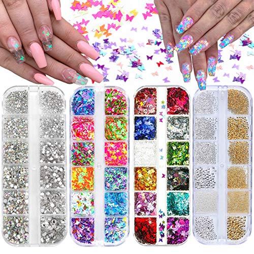 4 Cajas Pedrería Brillos para Uñas, 24 Colores de Mariposas Lentejuelas para Uñas , 1000+Piezas Rhinestones Microperlas Cristal Brillantes para Decoración de Uñas Diseños de Uñas Maquillaje (B)