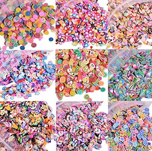 EHOPE 5000 PCS 3D Polymer Slices Fruit Slices DIY Nail Art Slime Supplies Charms Slime Making Kit Decoration Arts Crafts(Fruit,Smiling face,Heart,Plum Blossom,Pentagram,Cake,Cartoon,Animal?