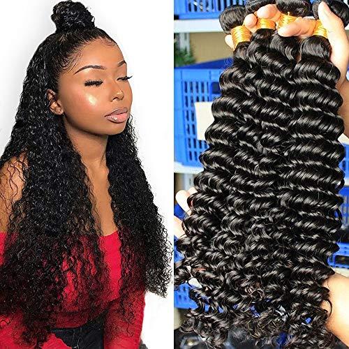 10A Deep Wave Human Hair Bundles (30 30 30 30 Inch) 100% Virgin Brazilian Hair 4 Bundles Wet and Wavy Hair Human Bundles Unprocessed Remy Curly Hair Bundles