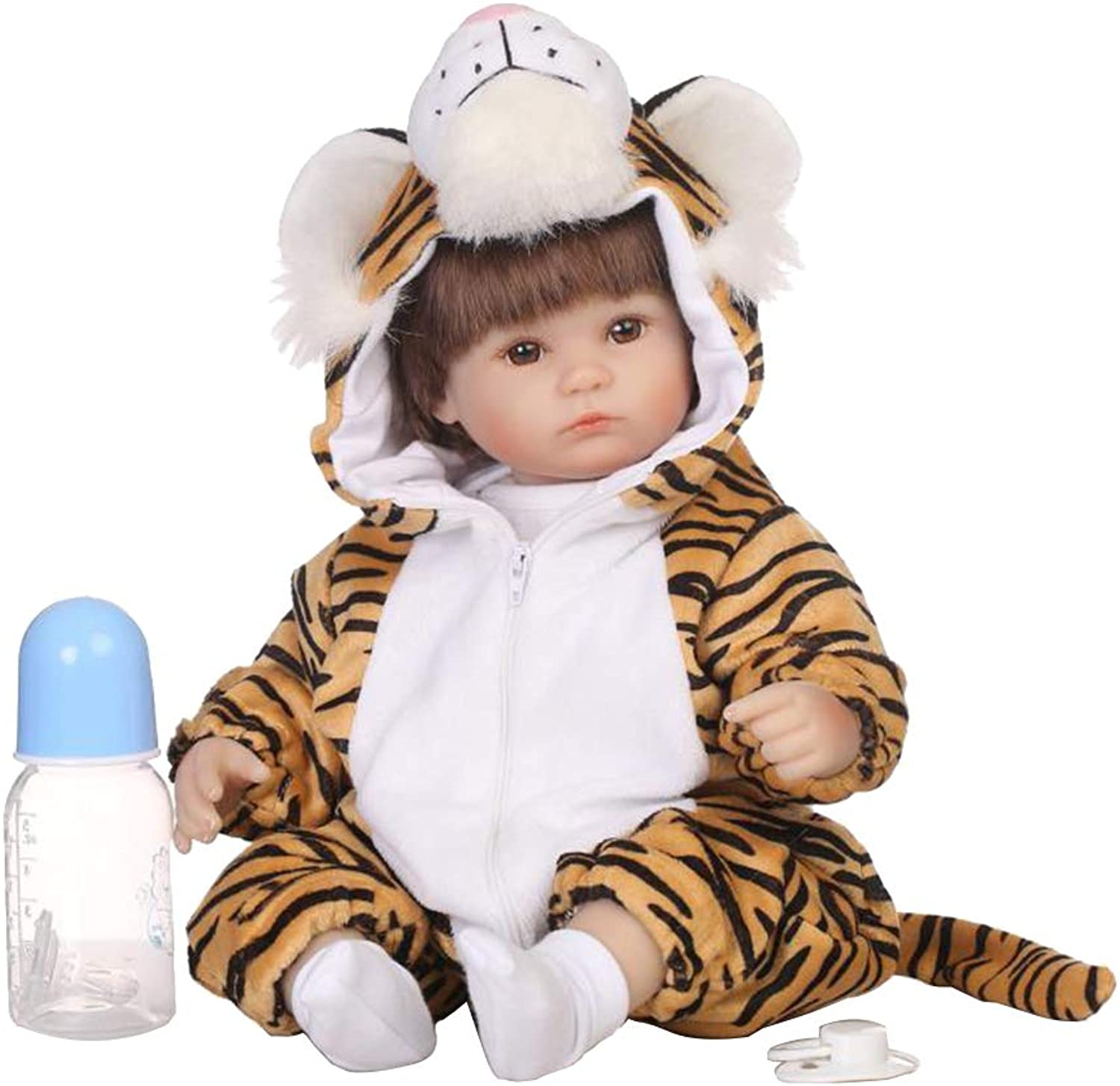 Kesoto 40cm Adorable Vinyl Reborn Awake Baby Doll Model in Tiger Jumpsuit Outfit Accessories