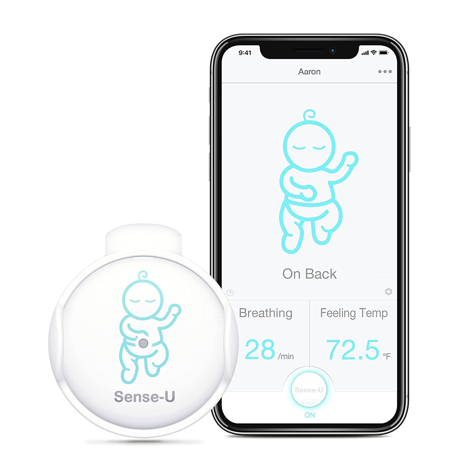 Sense-U Baby Breathing Monitor - HSA/FSA Approved - Tracks Baby's Breathing Movement, Feeling Temperature and Stomach Sleeping for Baby Safety with Audio Alarm on Smartphone (Green)