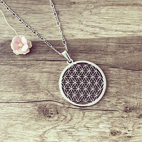 Lange Kette Blume des Lebens Silber, tree of life/vintage/ethno/hippie/must have/statement/florabella schmuck/Flower/ornament/unendlichkeit/kraft/