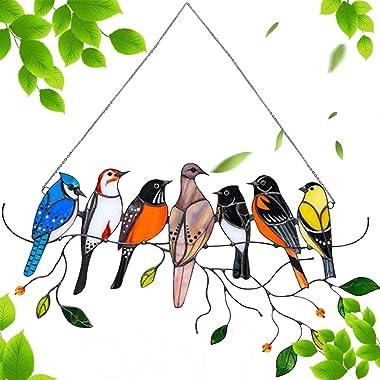 RTUGOVT Multicolor Stained Birds Window Hanging Decoration,on Wire Acrylic Suncatcher Window Panel,Pendant Ornaments