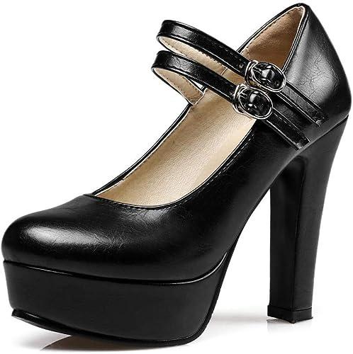 Zapatos De Tacón Microfibra para mujer Europea Y Americana 11 Cm Elegante Sexy Cómoda Simple Cabeza rojoonda Boca Baja Hebilla Hebilla Tacones Altos
