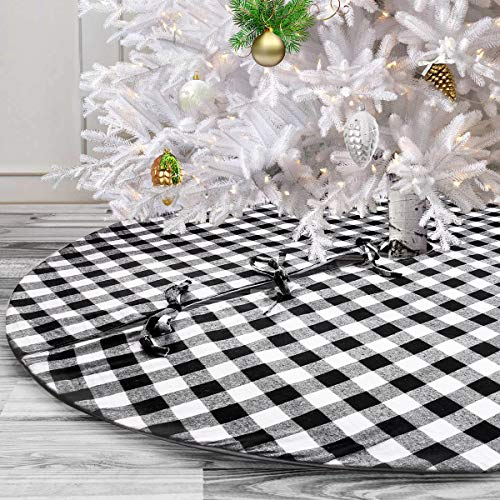 yuboo White and Black Christmas Tree Skirt, 48-Inch Buffalo Plaid Double Layers Halloween& Xmas Tree Decorations for Farmhouse Party