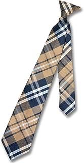 Boy's CLIP-ON NeckTie NAVY BLUE BROWN WHITE PLAID Youth Neck Tie
