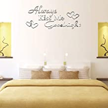 AQRICHFOX Always Kiss Me Goodnight Wall Decals Acrylic Mirror Wall Sticker for Home Living Room Bedroom Decor Wall Decoration Silver