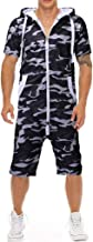 Men Summer Romper Jumpsuit,Tronet Unisex Jumpsuit One-Piece Camouflage Non Footed Pajama Playsuit Blouse Hooded