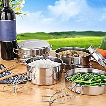 JUNING Set de Casseroles Camping, 8 Pièces, Acier Inoxydable Compact et Durable Pot Pan