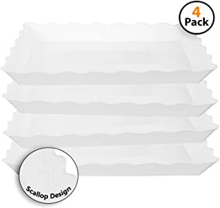 4 Pack Rectangular Plastic Trays, Heavyweight Disposable Serving Party Platters, 9