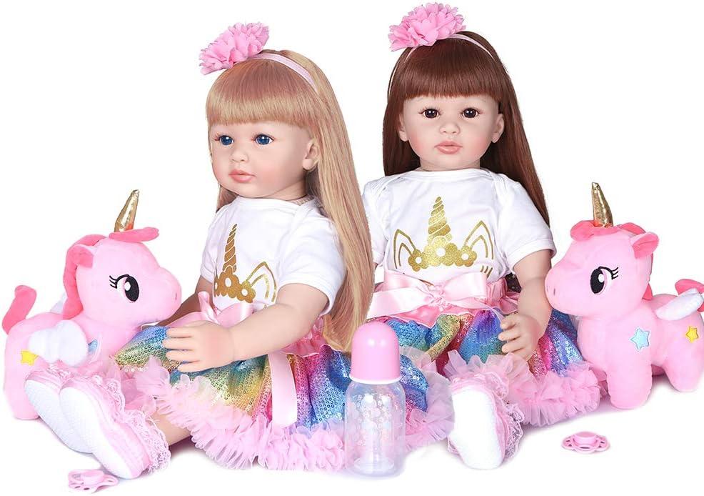Poup/ée Reborn,Entweg Reborn Dolls 24 pouces r/éaliste b/éb/é Silicone vinyle et coton corps enfant en bas /âge poup/ées r/éaliste b/éb/é pond/ér/é avec des cheveux blonds