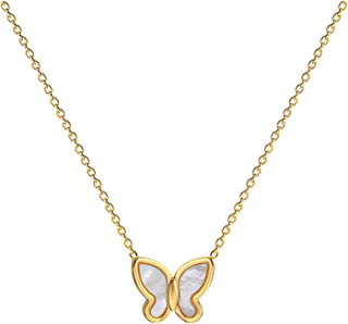 Butterfly Necklace for Women 18K Gold Plated Pendant Name Necklaces Delicate Everyday Necklace for Women Minimalist Person...