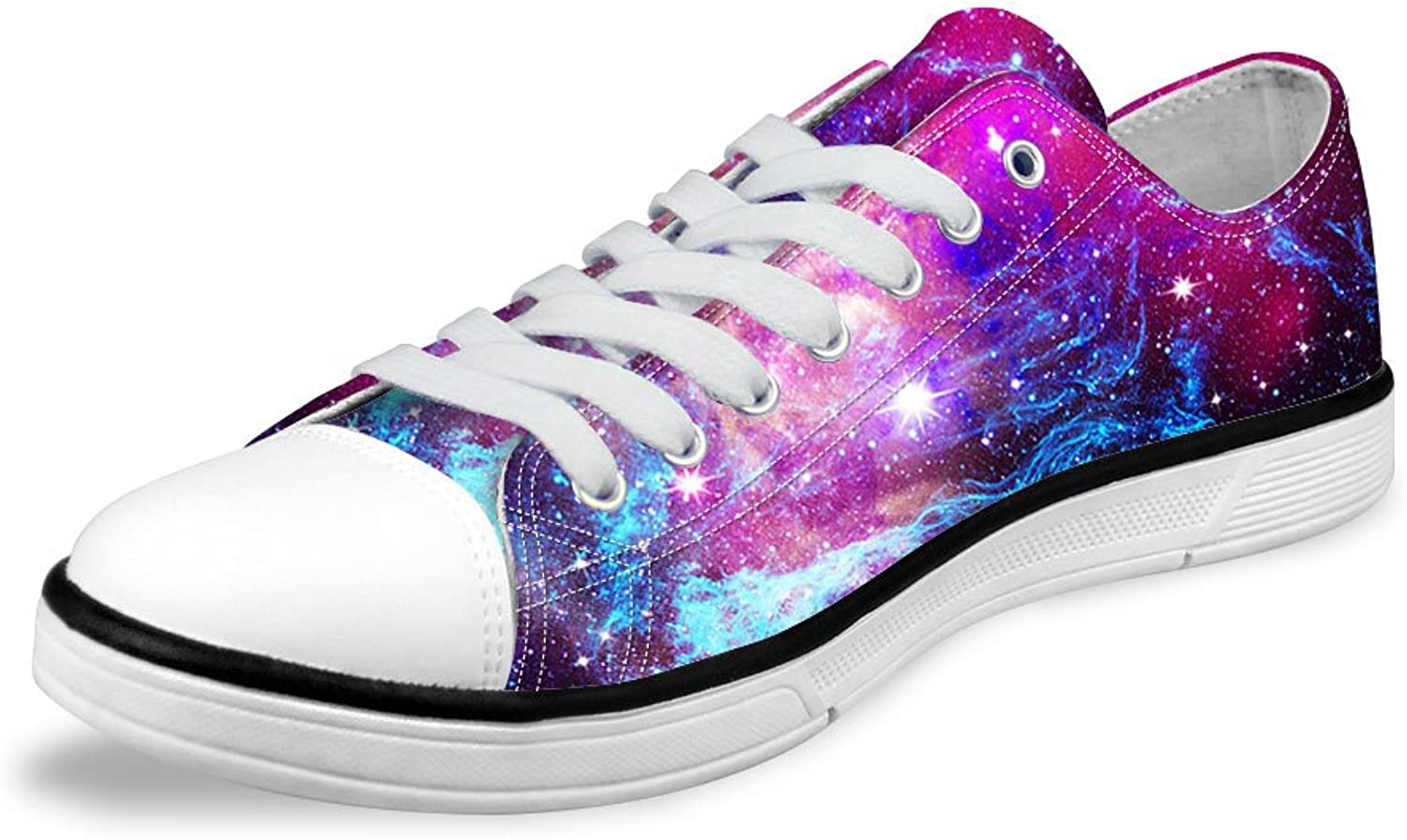 Micandle Purple Starry Pattern Womens Summer Low Top Canvas Sneakers shoes