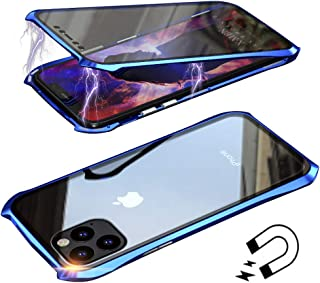 Anyos Compatible iPhone 11 Pro Max Case, Ultra-Thin Magnetic Adsorption Metal Frame Clear Tempered Glass Flip Cover Built-in Screen Protector, Blue
