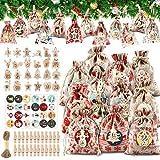 24 Calendario Adviento DIY, Bolsas de Regalo Navidad Calendario de Adviento, 24 Bolsa de Regalo...