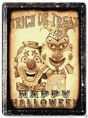 Halloween Metal Sign Halloween Poster Plaque Funny Sign Clown Halloween Metal Sign Scary Movie Prop Funny Vintage Style Wall Decor 10x14 Inches