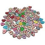 Wicemoon 100 PCS Botón del corazón de melocotón Botón Botón De Resina Pintado Como Botón De Costura Botón Redondo...