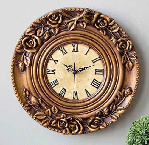 Bonne action Horloge murale Européenne Horloge Murale Créative Rétro Personnalité Mode Chambre Salon Horloge Or Roses Silencieux Décoratif Horloge