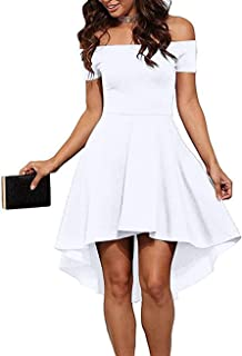 Sarin Mathews Womens Off The Shoulder Short Sleeve High Low Cocktail Skater  Dress 7a479f84e