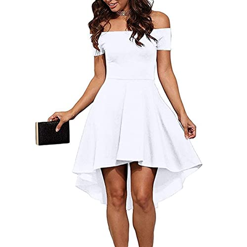 Sarin Mathews Womens Off The Shoulder Short Sleeve High Low Cocktail Skater  Dress dcaaed579