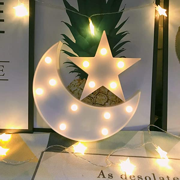 QiaoFei Decorative Moon Star Night Light Cute LED Nursery Night Lamp Gift Marquee Moon Star Sign For Birthday Party Baby Shower Kids Room Living Room Decor White