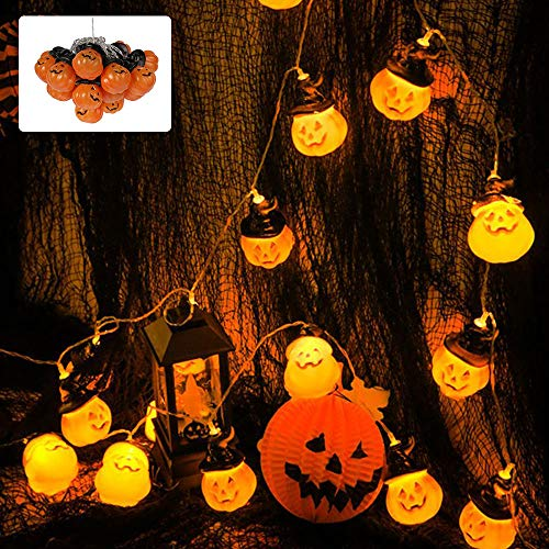Halloween Lichterkette Kürbis Lichterketten 3m 20 LED Kürbis Geist Skelette Halloween Fensterdeko Schädel Lichterkette Party Schnur Festival Home Party Halloween Ornament (Hexenhut Kürbis)