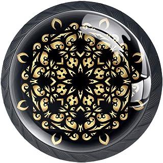 Mandala - Juego de 4 pomos planos para armario de cocina dormitorio armario de cocina armario y cajón