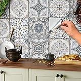 24 Stickers muraux gris et blancs autocollants de carreaux adhésifs carrés plats de 10x10 cm avec motifs de carrelage